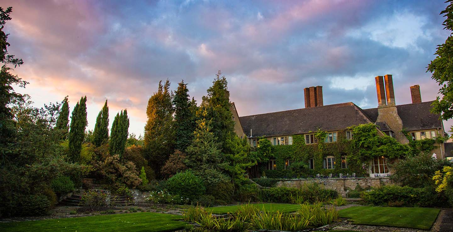 Warwickshire Escape Offer Hotel Mallory Court Gardens and Sunset Sky
